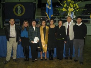 The family at my college graduation (my aunt snuck in our pic!)