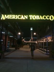 Old tobacco warehouses that were remodeled into restaurants and shops.