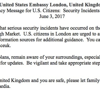 copy of our email after the attacks in London