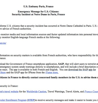 copy of our email after Notre Dame attack